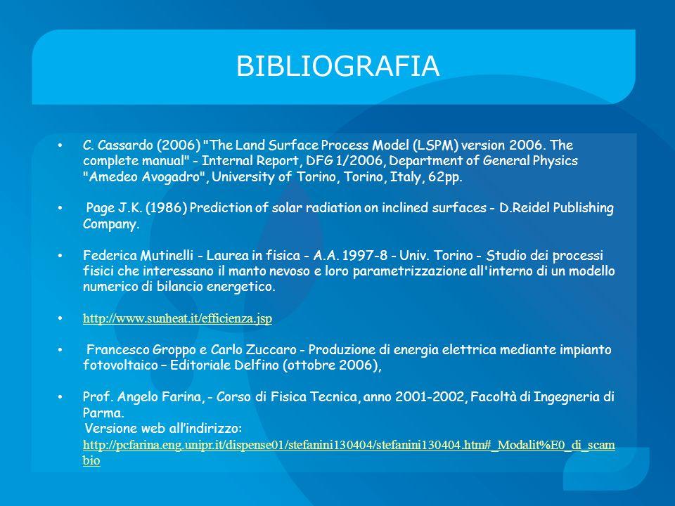 BIBLIOGRAFIA C. Cassardo (2006)