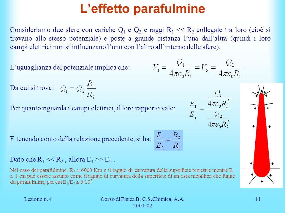 Lezione n. 4Corso di Fisica B, C.S.Chimica, A.A. 2001-02 11 Leffetto parafulmine Consideriamo due sfere con cariche Q 1 e Q 2 e raggi R 1 << R 2 colle