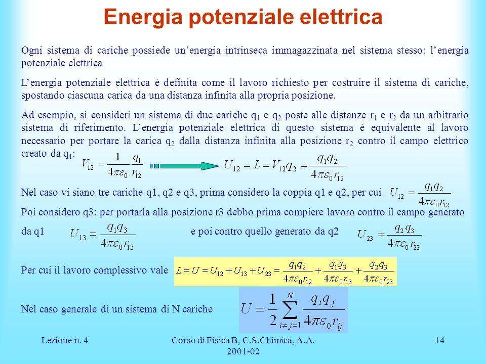 Lezione n. 4Corso di Fisica B, C.S.Chimica, A.A. 2001-02 14 Ogni sistema di cariche possiede unenergia intrinseca immagazzinata nel sistema stesso: le