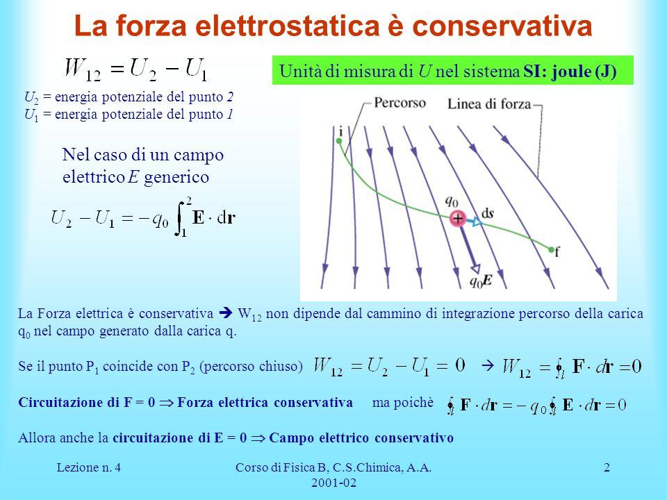 Lezione n. 4Corso di Fisica B, C.S.Chimica, A.A. 2001-02 2 La forza elettrostatica è conservativa U 2 = energia potenziale del punto 2 U 1 = energia p