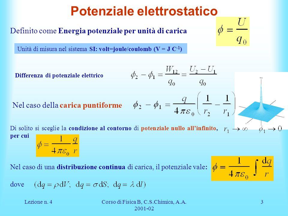 Lezione n. 4Corso di Fisica B, C.S.Chimica, A.A. 2001-02 3 Potenziale elettrostatico Definito come Energia potenziale per unità di carica Unità di mis