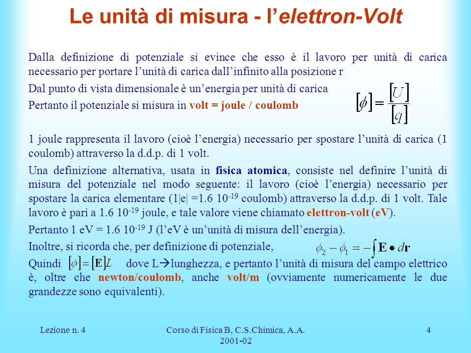 Lezione n. 4Corso di Fisica B, C.S.Chimica, A.A. 2001-02 4 Le unità di misura - lelettron-Volt Dalla definizione di potenziale si evince che esso è il