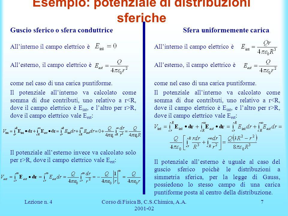 Lezione n. 4Corso di Fisica B, C.S.Chimica, A.A. 2001-02 7 Esempio: potenziale di distribuzioni sferiche Guscio sferico o sfera conduttriceSfera unifo