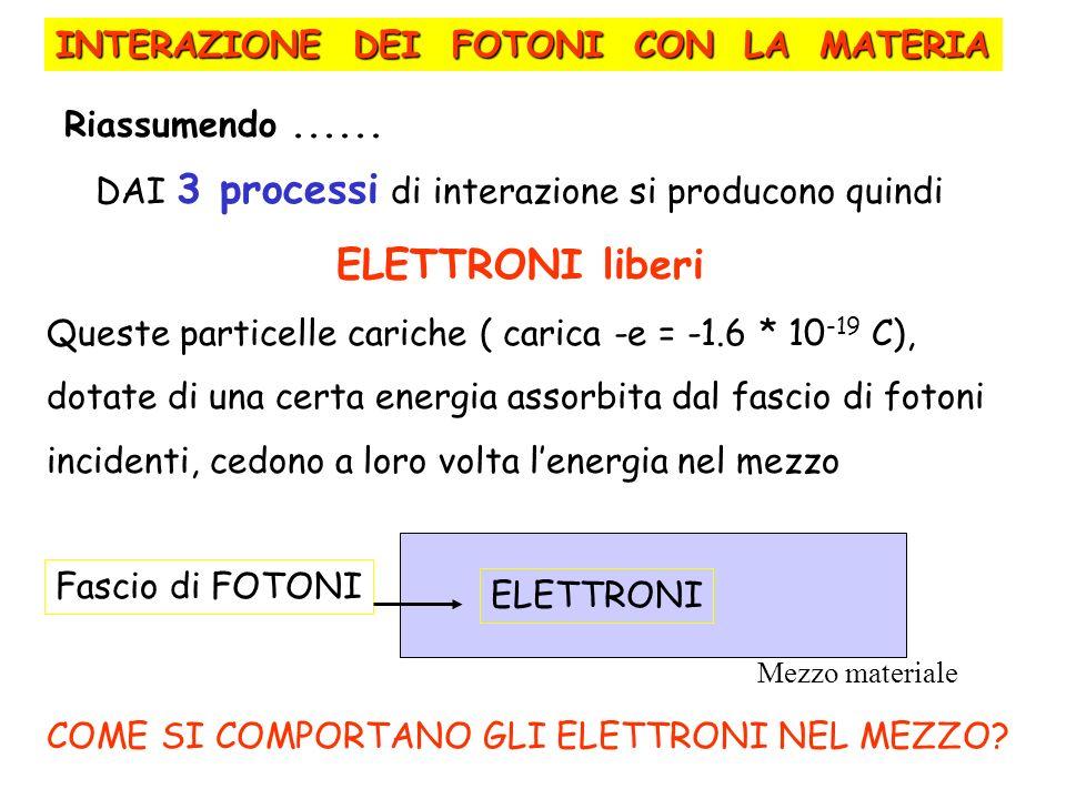 DAI 3 processi di interazione si producono quindi ELETTRONI liberi Queste particelle cariche ( carica -e = -1.6 * 10 -19 C), dotate di una certa energ