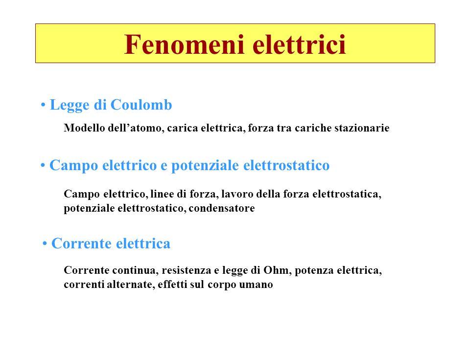 Fenomeni elettrici Legge di Coulomb Campo elettrico e potenziale elettrostatico Corrente elettrica Modello dellatomo, carica elettrica, forza tra cari