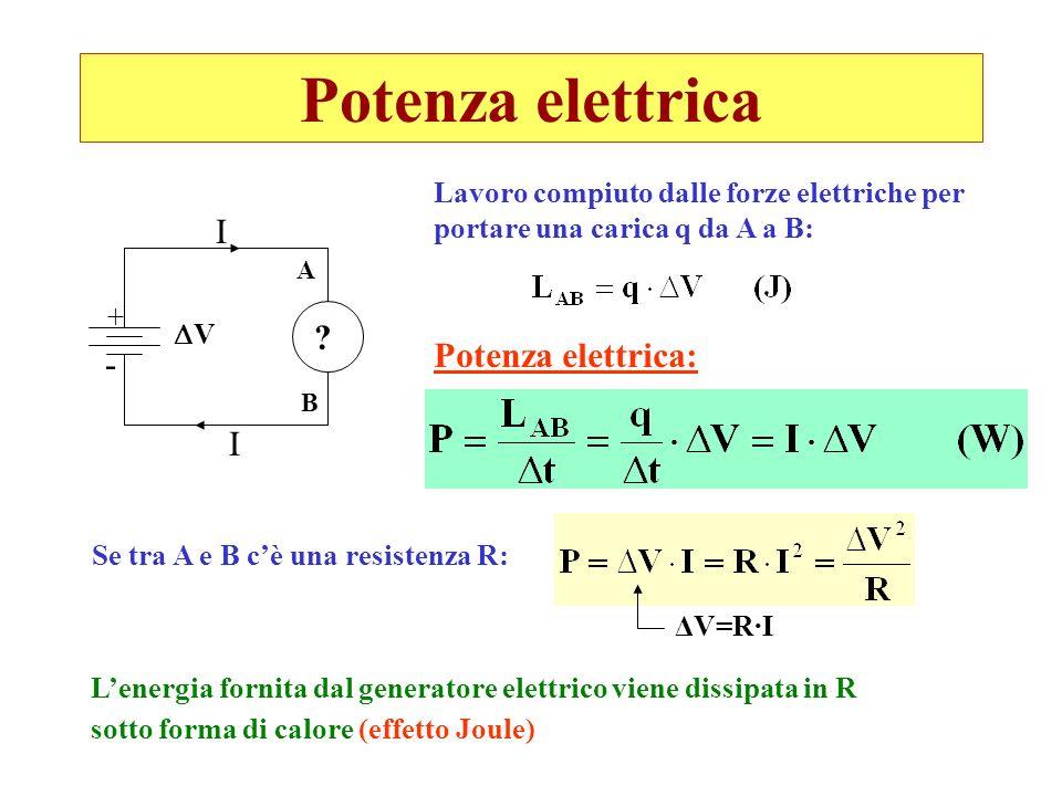 Potenza elettrica I I + - V ? A B Lavoro compiuto dalle forze elettriche per portare una carica q da A a B: Potenza elettrica: Se tra A e B cè una res