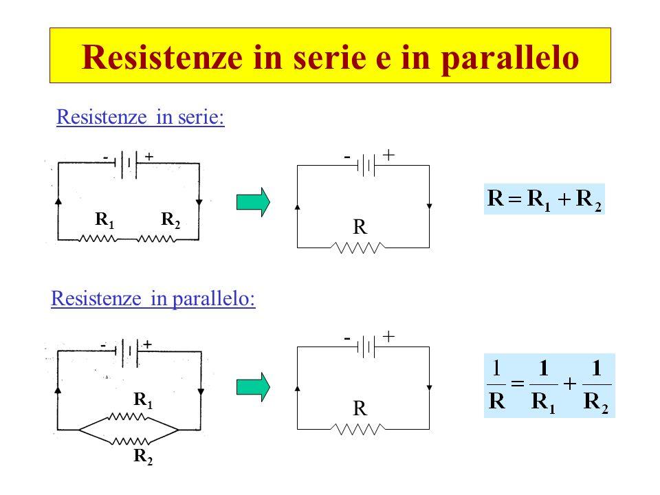 Resistenze in serie e in parallelo Resistenze in serie: Resistenze in parallelo: R1R1 R2R2 R1R1 R2R2 -+ -+ R R