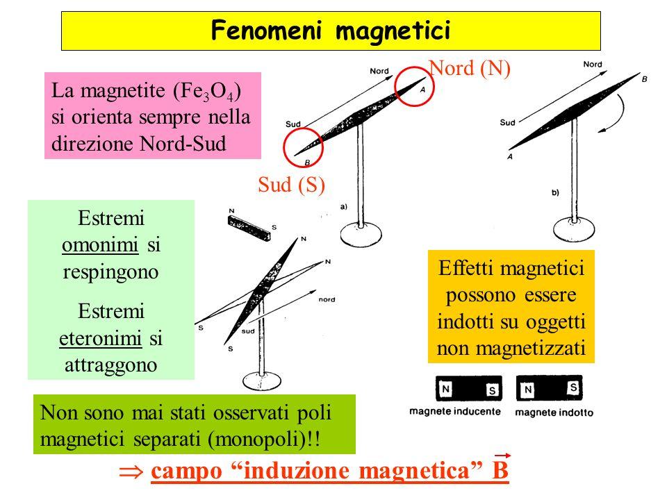 Fenomeni magnetici La magnetite (Fe 3 O 4 ) si orienta sempre nella direzione Nord-Sud Nord (N) Sud (S) Estremi omonimi si respingono Estremi eteronim