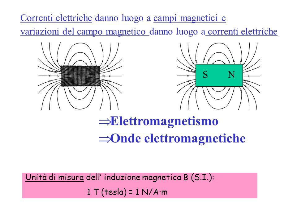 NS Correnti elettriche danno luogo a campi magnetici e variazioni del campo magnetico danno luogo a correnti elettriche Elettromagnetismo Onde elettro