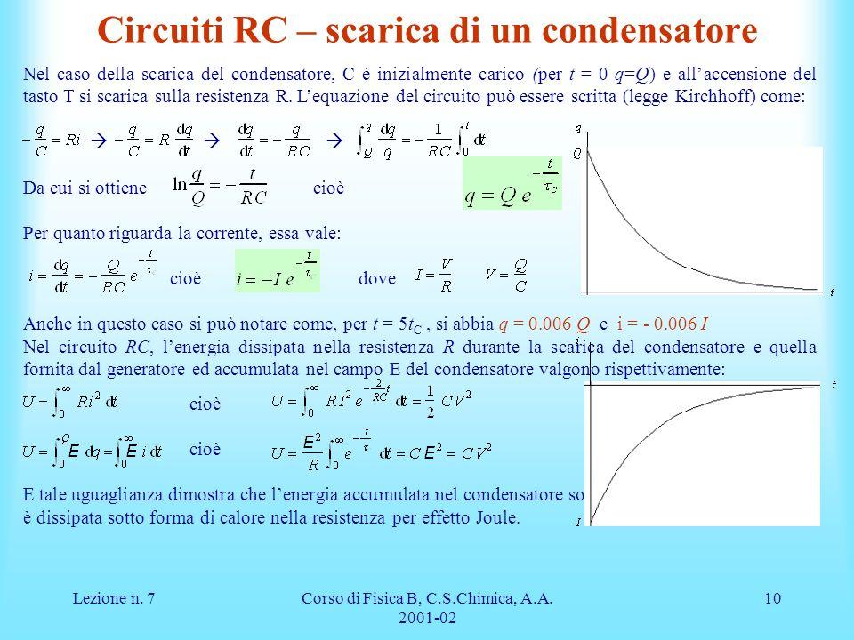 Lezione n. 7Corso di Fisica B, C.S.Chimica, A.A. 2001-02 10 Circuiti RC – scarica di un condensatore Nel caso della scarica del condensatore, C è iniz