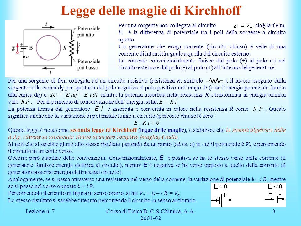 Lezione n. 7Corso di Fisica B, C.S.Chimica, A.A. 2001-02 3 Per una sorgente di fem collegata ad un circuito resistivo (resistenza R, simbolo ), il lav