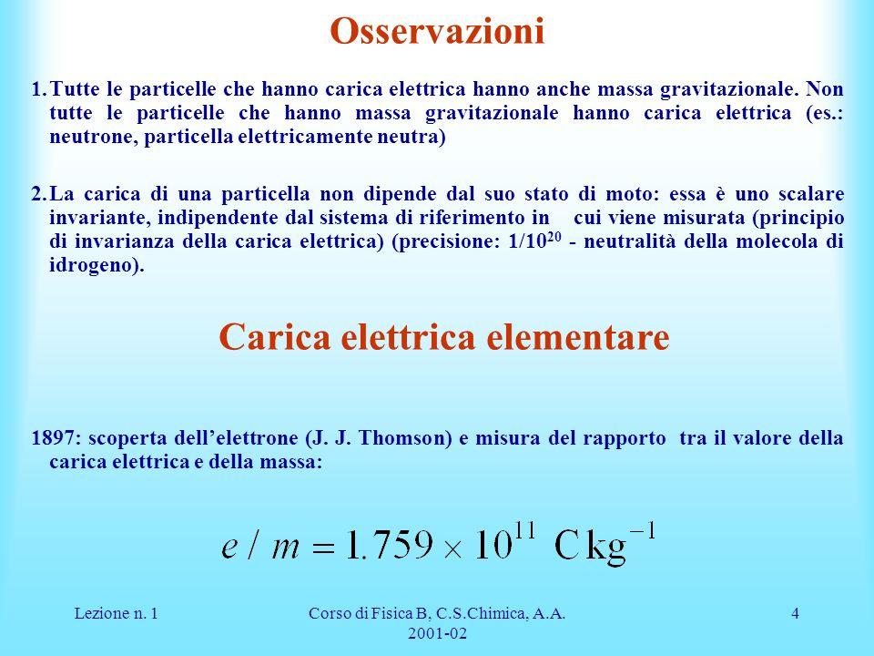Lezione n. 1Corso di Fisica B, C.S.Chimica, A.A. 2001-02 4 Osservazioni 1.Tutte le particelle che hanno carica elettrica hanno anche massa gravitazion