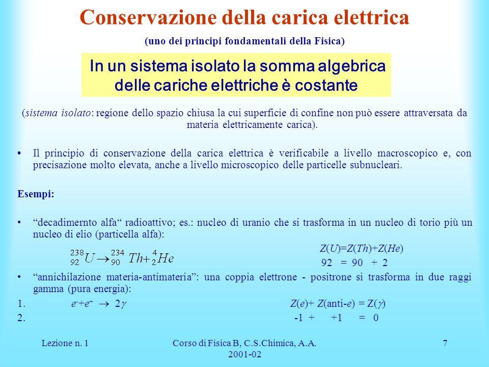 Lezione n. 1Corso di Fisica B, C.S.Chimica, A.A. 2001-02 7 Conservazione della carica elettrica (uno dei principi fondamentali della Fisica) (sistema