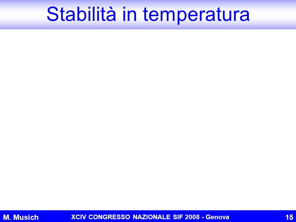M. Musich XCIV CONGRESSO NAZIONALE SIF 2008 - Genova 15 Stabilità in temperatura