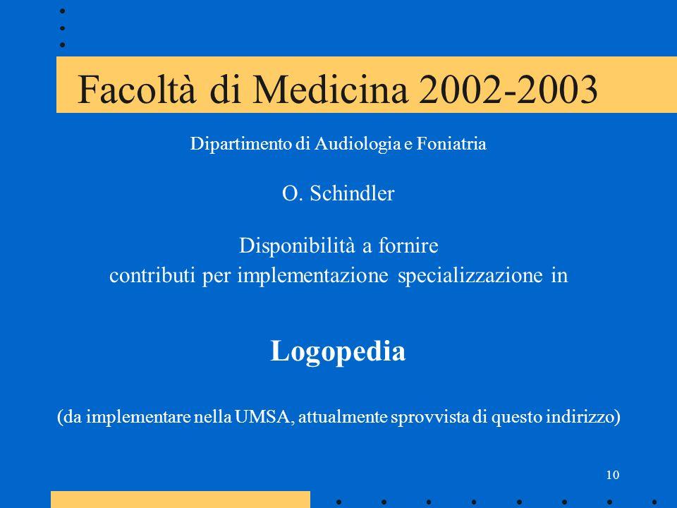 10 Facoltà di Medicina 2002-2003 Dipartimento di Audiologia e Foniatria O.