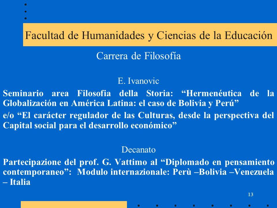 13 Facultad de Humanidades y Ciencias de la Educación Carrera de Filosofía E.