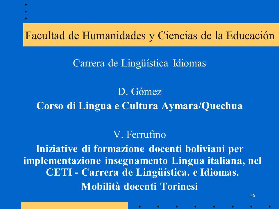 16 Facultad de Humanidades y Ciencias de la Educación Carrera de Lingüística Idiomas D.