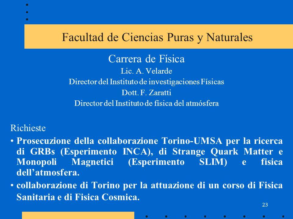 23 Facultad de Ciencias Puras y Naturales Carrera de Física Lic.
