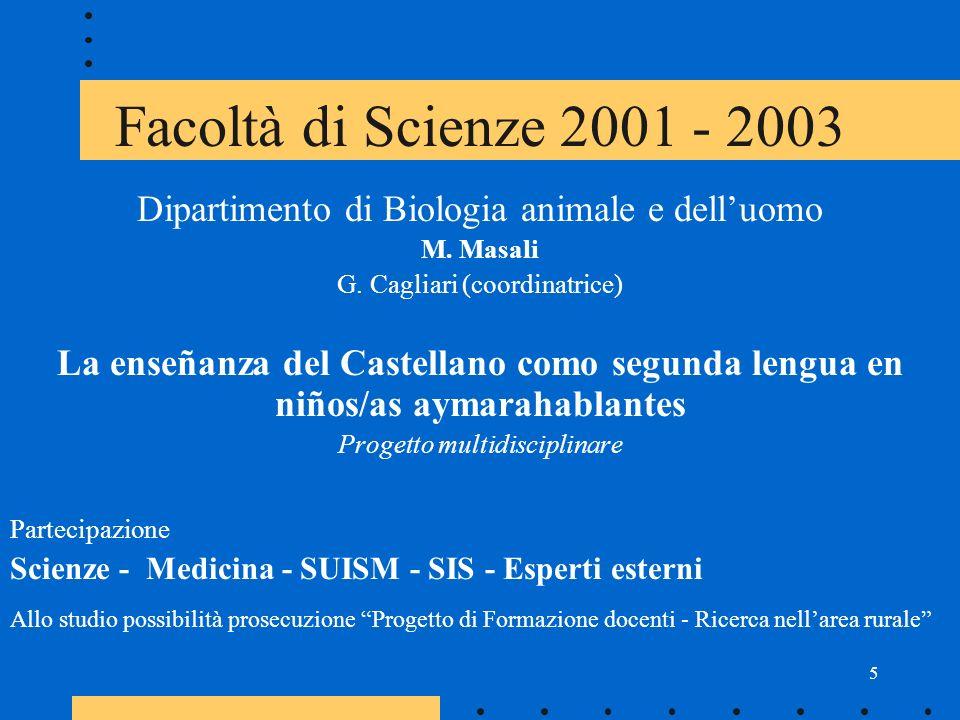 5 Facoltà di Scienze 2001 - 2003 Dipartimento di Biologia animale e delluomo M.