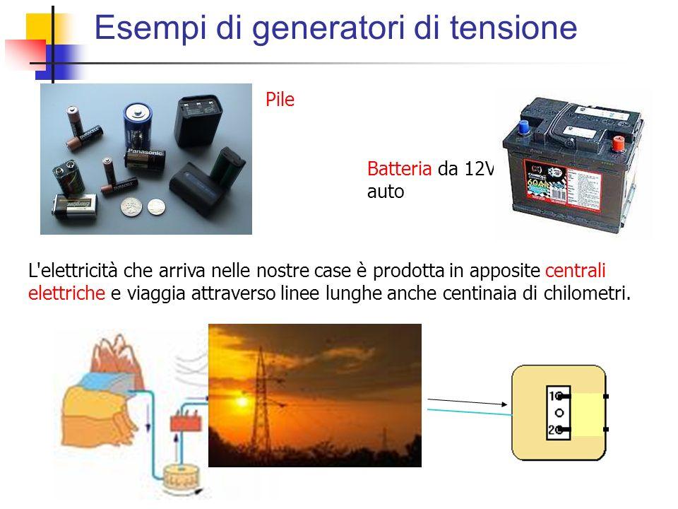 Esempi di generatori di tensione Pile Batteria da 12V per auto L'elettricità che arriva nelle nostre case è prodotta in apposite centrali elettriche e