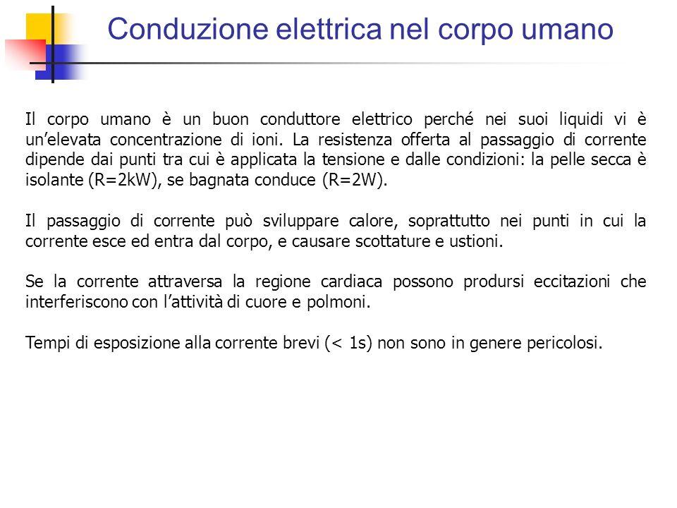 Conduzione elettrica nel corpo umano Il corpo umano è un buon conduttore elettrico perché nei suoi liquidi vi è unelevata concentrazione di ioni. La r