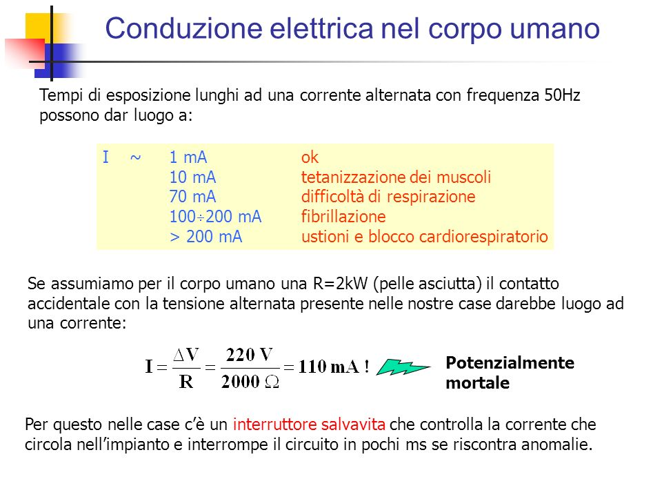 I ~ 1 mAok 10 mAtetanizzazione dei muscoli 70 mAdifficoltà di respirazione 100 200 mAfibrillazione > 200 mAustioni e blocco cardiorespiratorio Conduzi