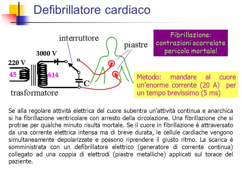 Defibrillatore cardiaco Fibrillazione: contrazioni scorrelate pericolo mortale! Metodo: mandare al cuore unenorme corrente (20 A) per un tempo breviss