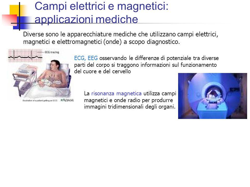 Campi elettrici e magnetici: applicazioni mediche Diverse sono le apparecchiature mediche che utilizzano campi elettrici, magnetici e elettromagnetici