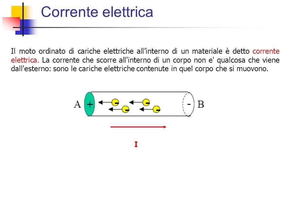 Corrente elettrica Il moto ordinato di cariche elettriche allinterno di un materiale è detto corrente elettrica. La corrente che scorre all'interno di