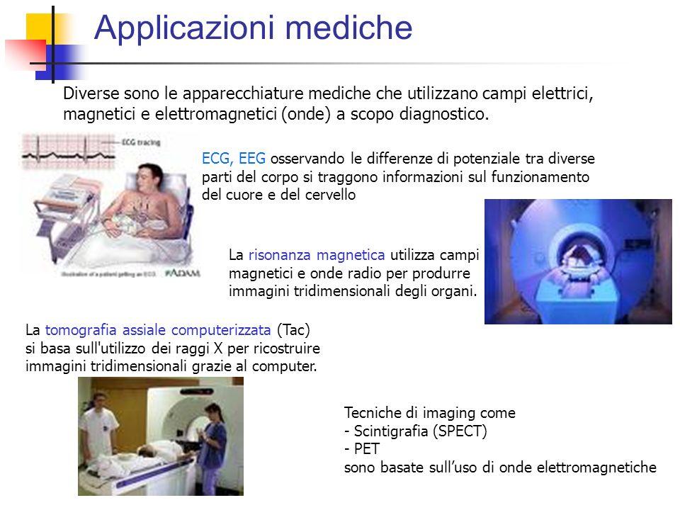 Applicazioni mediche Diverse sono le apparecchiature mediche che utilizzano campi elettrici, magnetici e elettromagnetici (onde) a scopo diagnostico.
