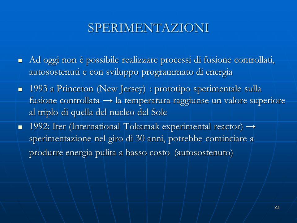 23 SPERIMENTAZIONI Ad oggi non è possibile realizzare processi di fusione controllati, autosostenuti e con sviluppo programmato di energia Ad oggi non