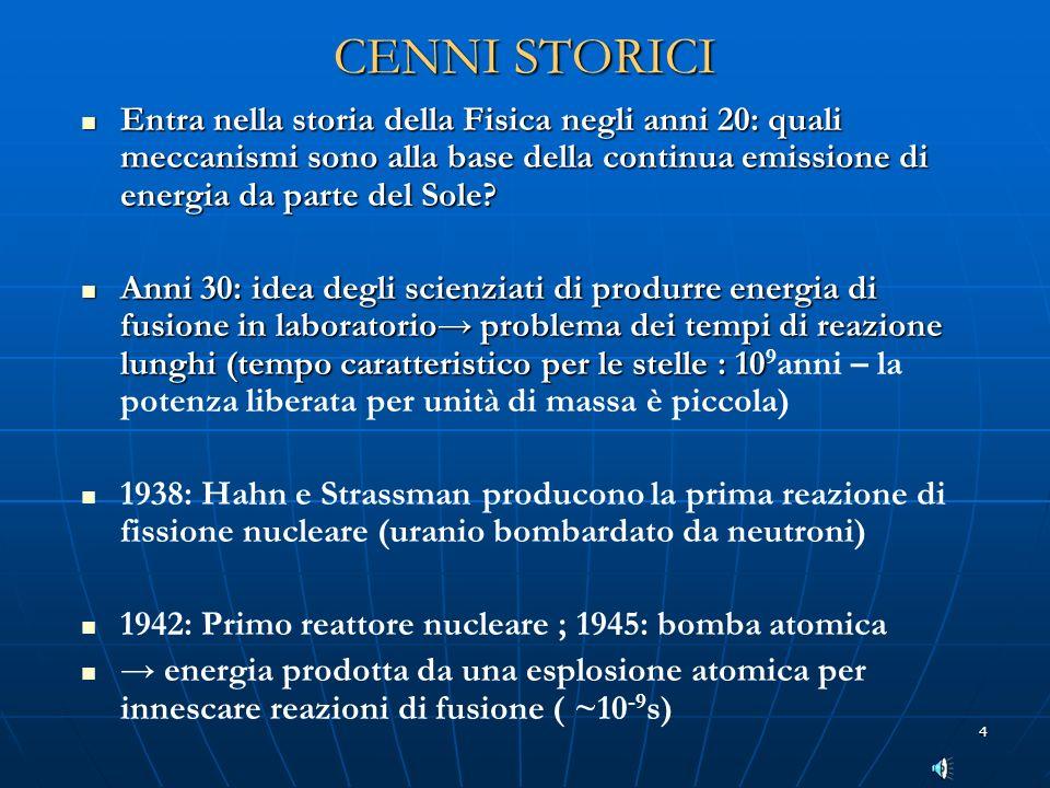 4 CENNI STORICI Entra nella storia della Fisica negli anni 20: quali meccanismi sono alla base della continua emissione di energia da parte del Sole?