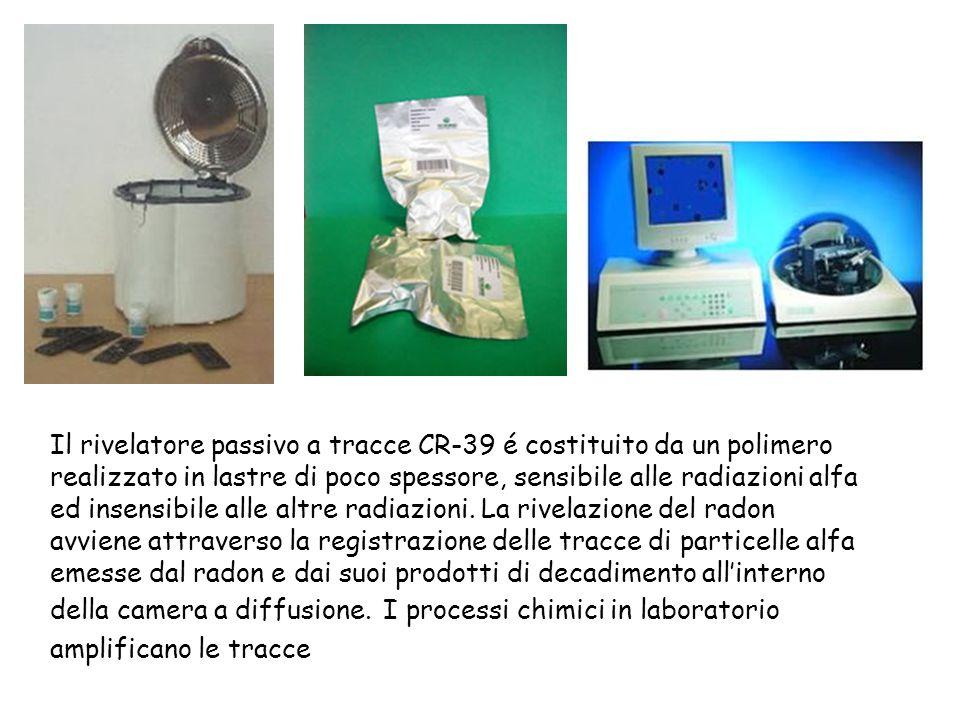 Il rivelatore passivo a tracce CR-39 é costituito da un polimero realizzato in lastre di poco spessore, sensibile alle radiazioni alfa ed insensibile