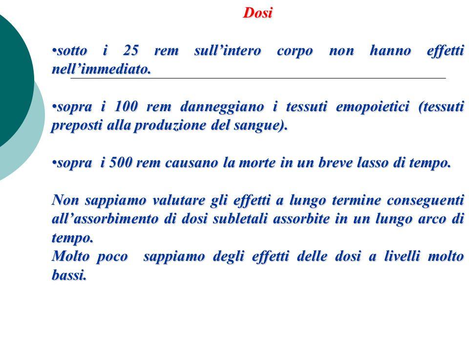 Dosi sotto i 25 rem sullintero corpo non hanno effetti nellimmediato.sotto i 25 rem sullintero corpo non hanno effetti nellimmediato. sopra i 100 rem