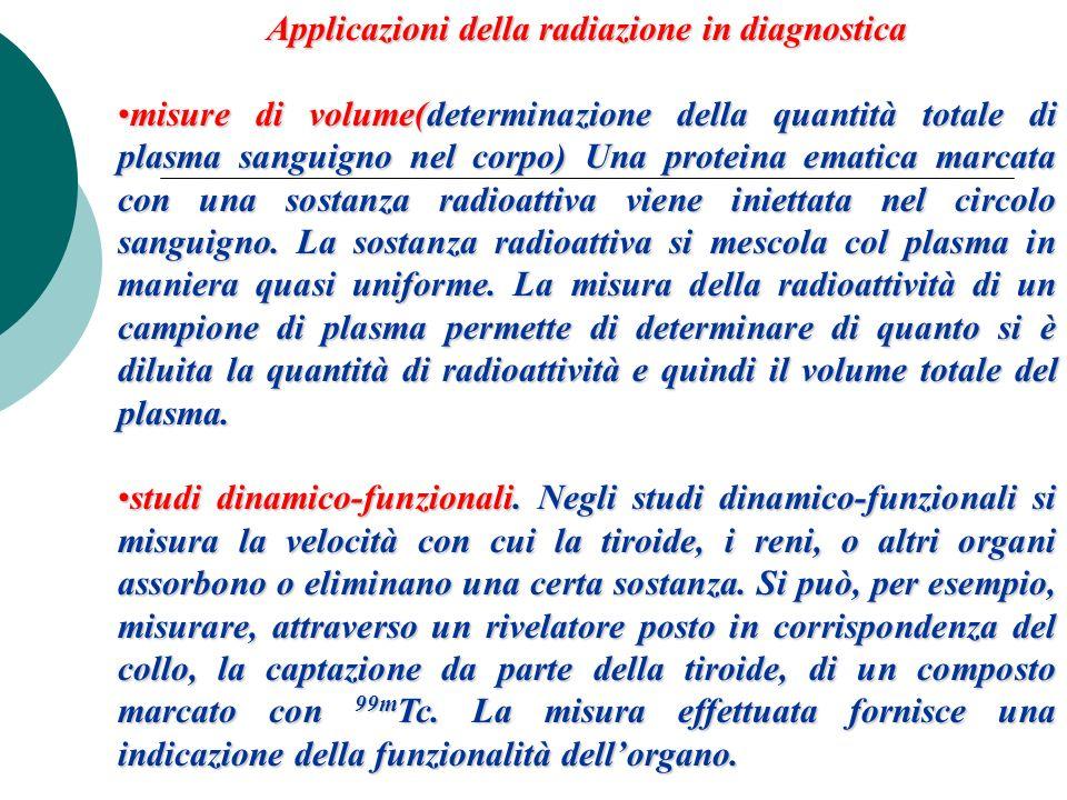 Applicazioni della radiazione in diagnostica misure di volume(determinazione della quantità totale di plasma sanguigno nel corpo) Una proteina ematica