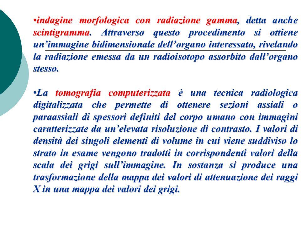 indagine morfologica con radiazione gamma, detta anche scintigramma. Attraverso questo procedimento si ottiene unimmagine bidimensionale dellorgano in