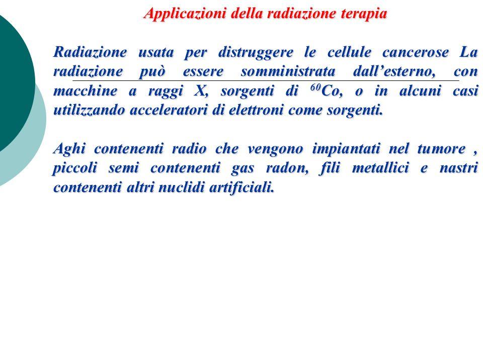 Applicazioni della radiazione terapia Radiazione usata per distruggere le cellule cancerose La radiazione può essere somministrata dallesterno, con ma