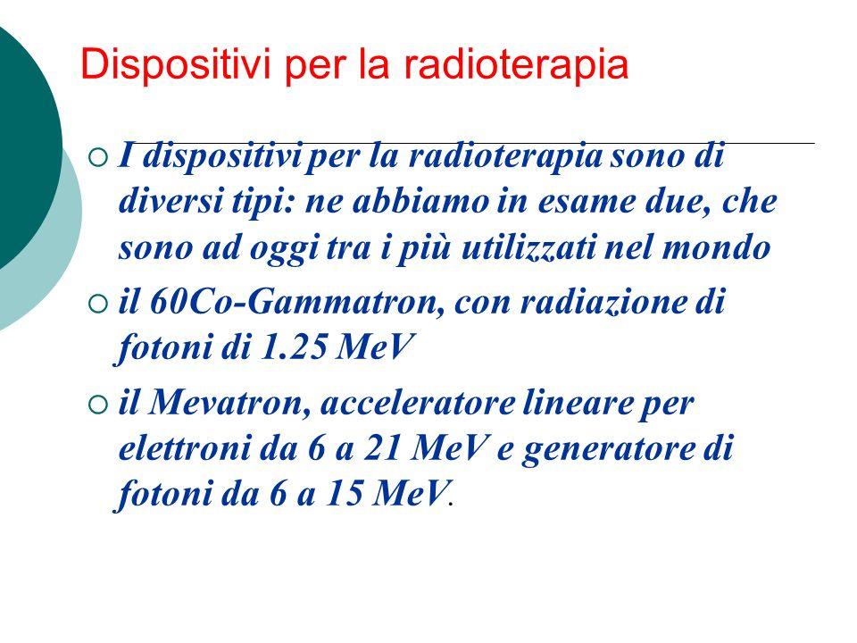 Dispositivi per la radioterapia I dispositivi per la radioterapia sono di diversi tipi: ne abbiamo in esame due, che sono ad oggi tra i più utilizzati