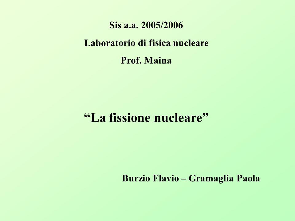 Sis a.a. 2005/2006 Laboratorio di fisica nucleare Prof. Maina La fissione nucleare Burzio Flavio – Gramaglia Paola