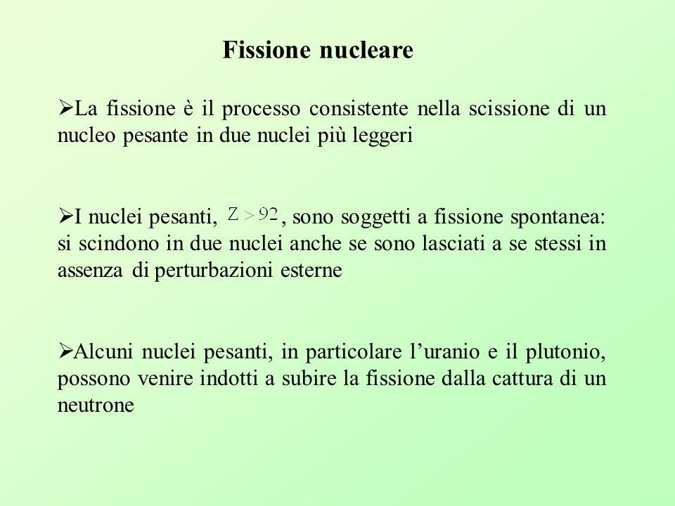 Fissione nucleare La fissione è il processo consistente nella scissione di un nucleo pesante in due nuclei più leggeri I nuclei pesanti,, sono soggett