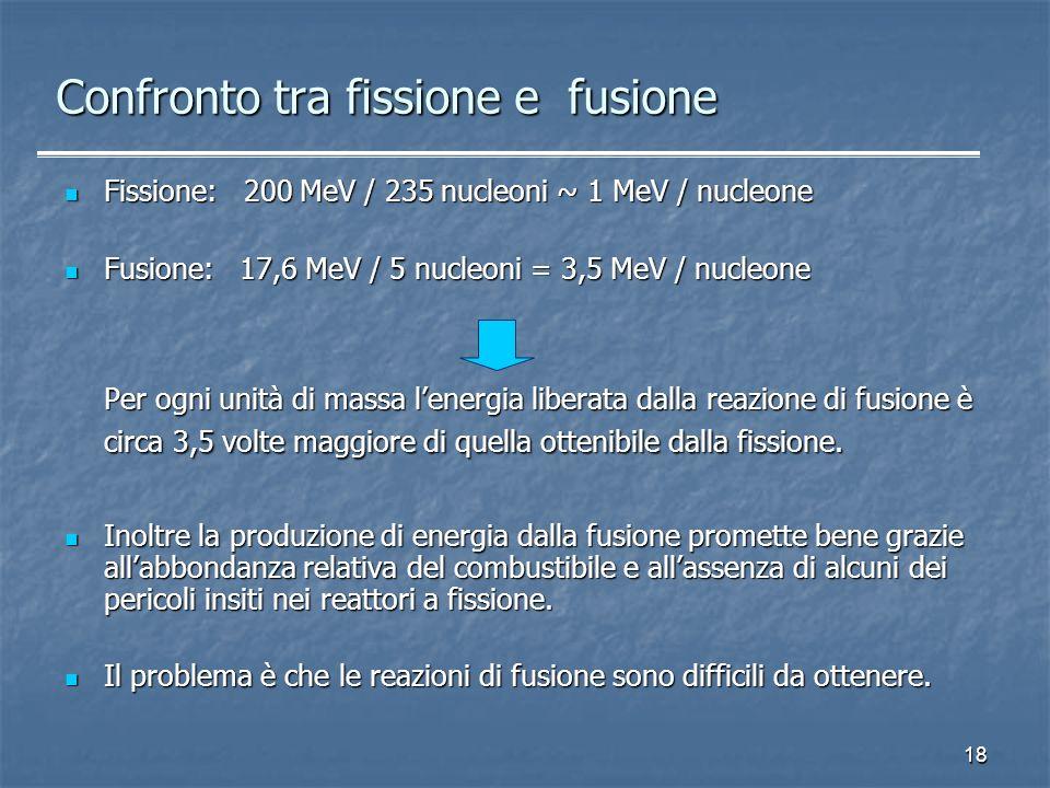 18 Confronto tra fissione e fusione Fissione: 200 MeV / 235 nucleoni ~ 1 MeV / nucleone Fissione: 200 MeV / 235 nucleoni ~ 1 MeV / nucleone Fusione: 1