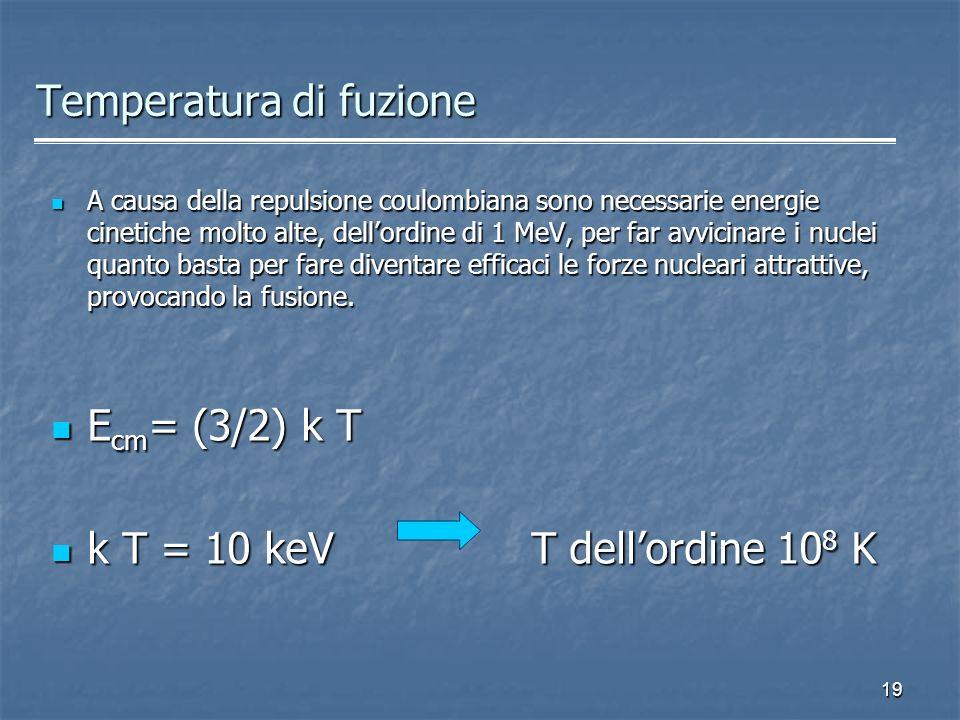 19 Temperatura di fuzione A causa della repulsione coulombiana sono necessarie energie cinetiche molto alte, dellordine di 1 MeV, per far avvicinare i