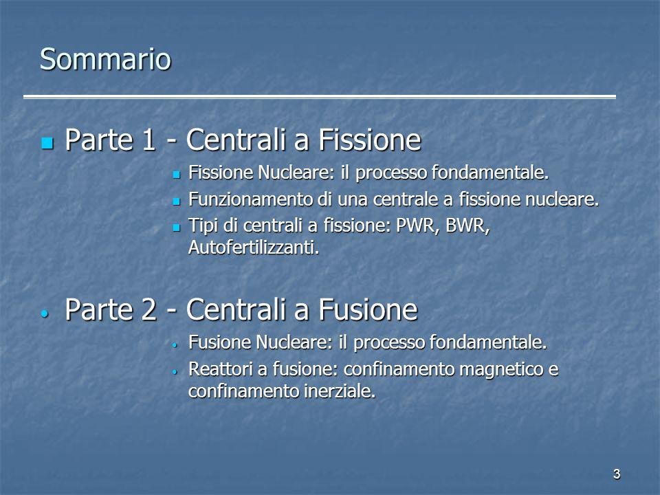 3 Sommario Parte 1 - Centrali a Fissione Parte 1 - Centrali a Fissione Fissione Nucleare: il processo fondamentale. Fissione Nucleare: il processo fon