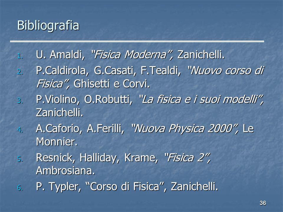 36 1. U. Amaldi, Fisica Moderna, Zanichelli. 2. P.Caldirola, G.Casati, F.Tealdi, Nuovo corso di Fisica, Ghisetti e Corvi. 3. P.Violino, O.Robutti, La