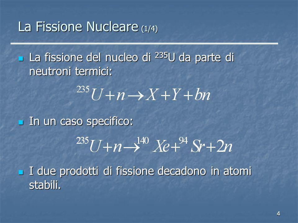 4 La Fissione Nucleare (1/4) La fissione del nucleo di 235 U da parte di neutroni termici: La fissione del nucleo di 235 U da parte di neutroni termic