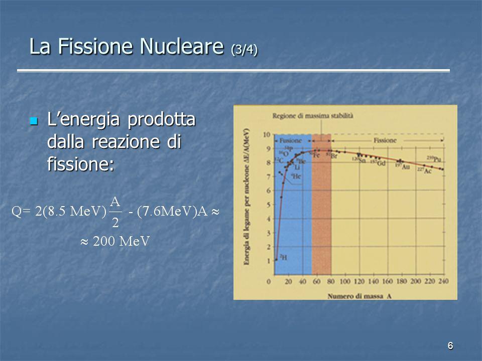 6 La Fissione Nucleare (3/4) Lenergia prodotta dalla reazione di fissione: Lenergia prodotta dalla reazione di fissione: