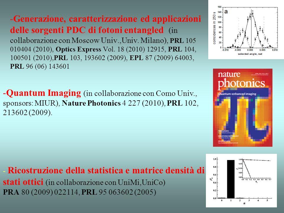 8 laboratori atrezzati con banchi ottici e lasers 6 ricercatori permanenti 4 post docs 1 Visiting Professor 3 PhD students, Vari tesisti, …. IF 2010 :
