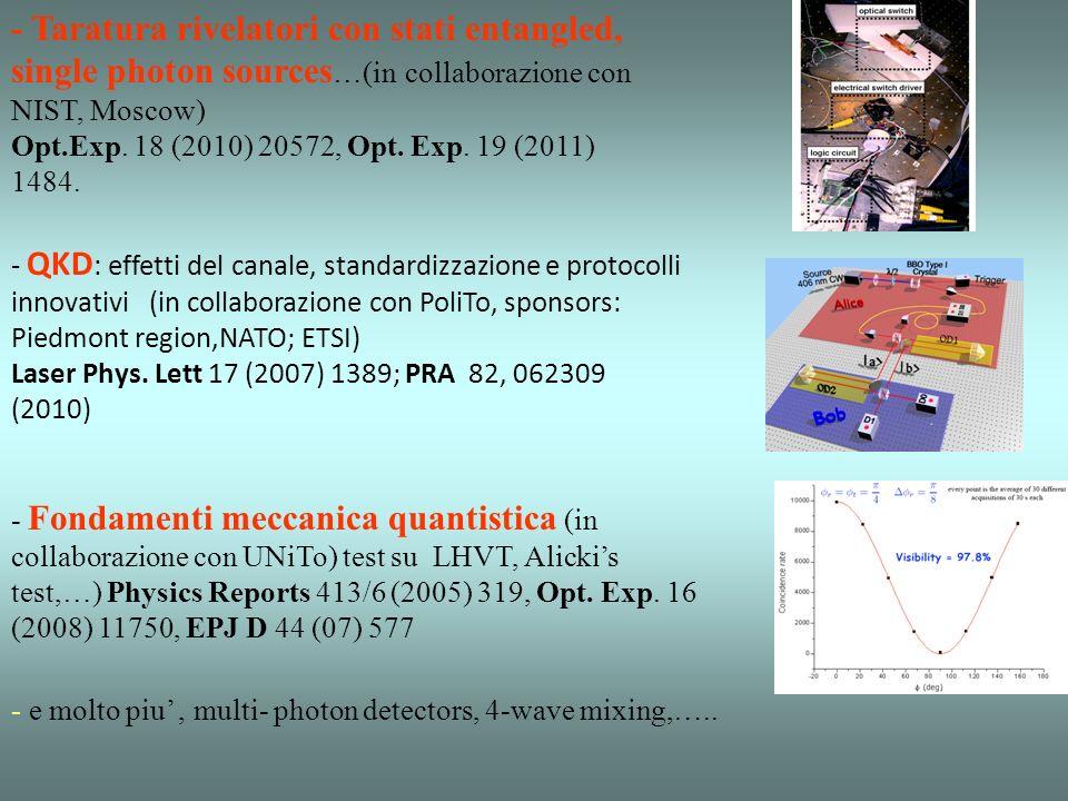 -Quantum Imaging (in collaborazione con Como Univ., sponsors: MIUR), Nature Photonics 4 227 (2010), PRL 102, 213602 (2009). - Ricostruzione della stat