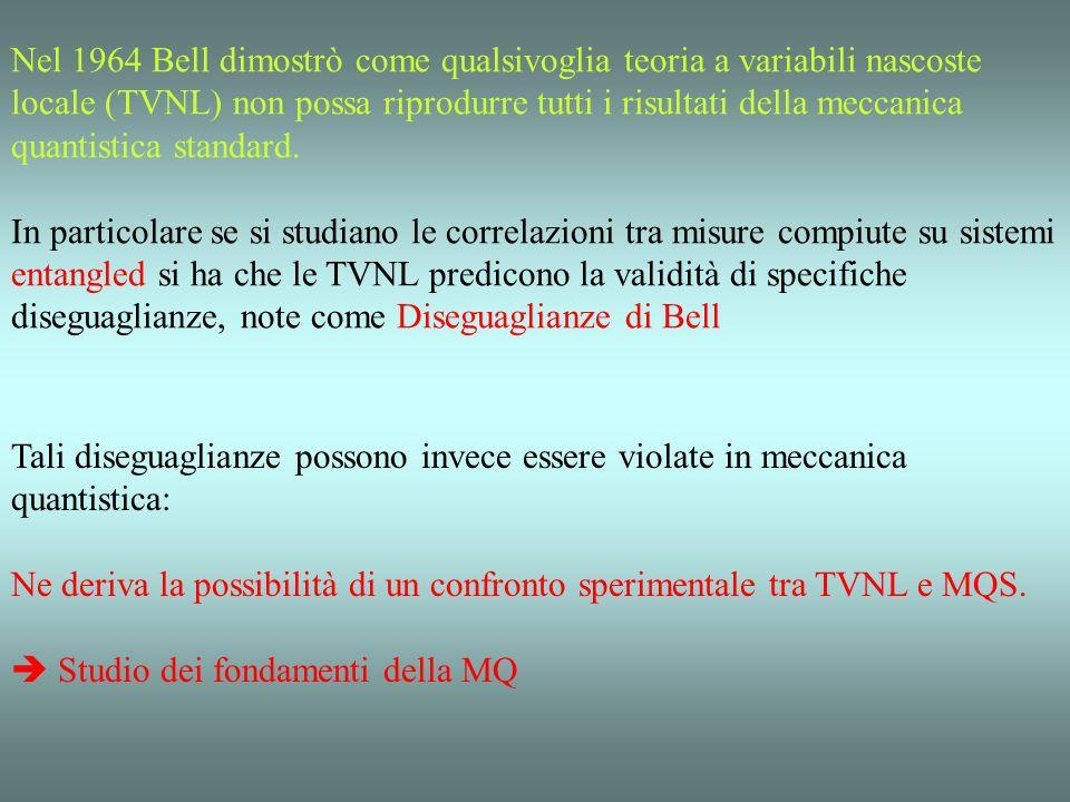 Nel 1964 Bell dimostrò come qualsivoglia teoria a variabili nascoste locale (TVNL) non possa riprodurre tutti i risultati della meccanica quantistica standard.