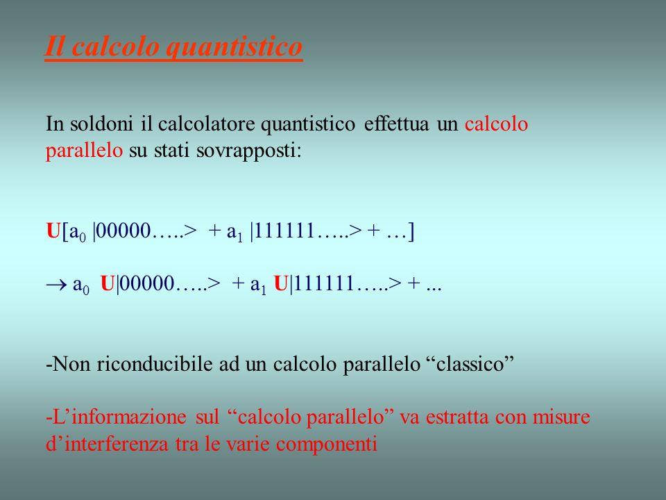 In soldoni il calcolatore quantistico effettua un calcolo parallelo su stati sovrapposti: U[a 0 |00000…..> + a 1 |111111…..> + …] a 0 U|00000…..> + a 1 U|111111…..> +...